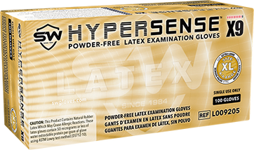 Hypersense X9 Powder-Free Latex Exam Glove, $10.65 per 100 gloves, 10 boxes of 100 per case