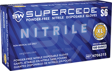 Supercede S6 Nitrile Powder-Free Gloves, $9.24 per 100 gloves, 10 boxes of 100 per case