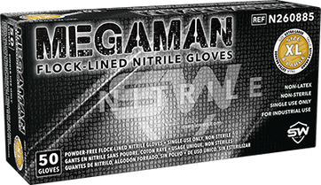 Megaman Absorbent-Lined Nitrile Gloves, $25.32 per 100 gloves, 10 boxes of 50 gloves per case
