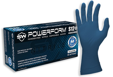 SW PowerForm S12+ Powder Free Blue Nitrile Extended Cuff Industrial Glove