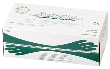 Vital Shield Gold PF Latex Gloves - Right/Left Fitted, $10.97 per 100 gloves, 20 boxes of 100 per case
