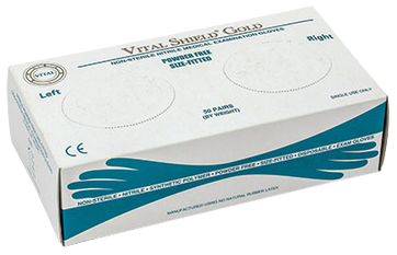 Vital Shield Gold PF Nitrile Right/Left Fitted, $8.97 per 100 gloves, 10 boxes of 100 per case