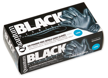 Quantum Black Nitrile Exam Gloves, $8.97 per 100 gloves, 10 boxes of 100 per case