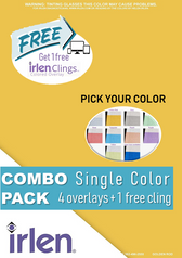 Combo 5 Pack - 4 Colored Overlays and 1 Cling (single color) ONLINE EXCLUSIVE