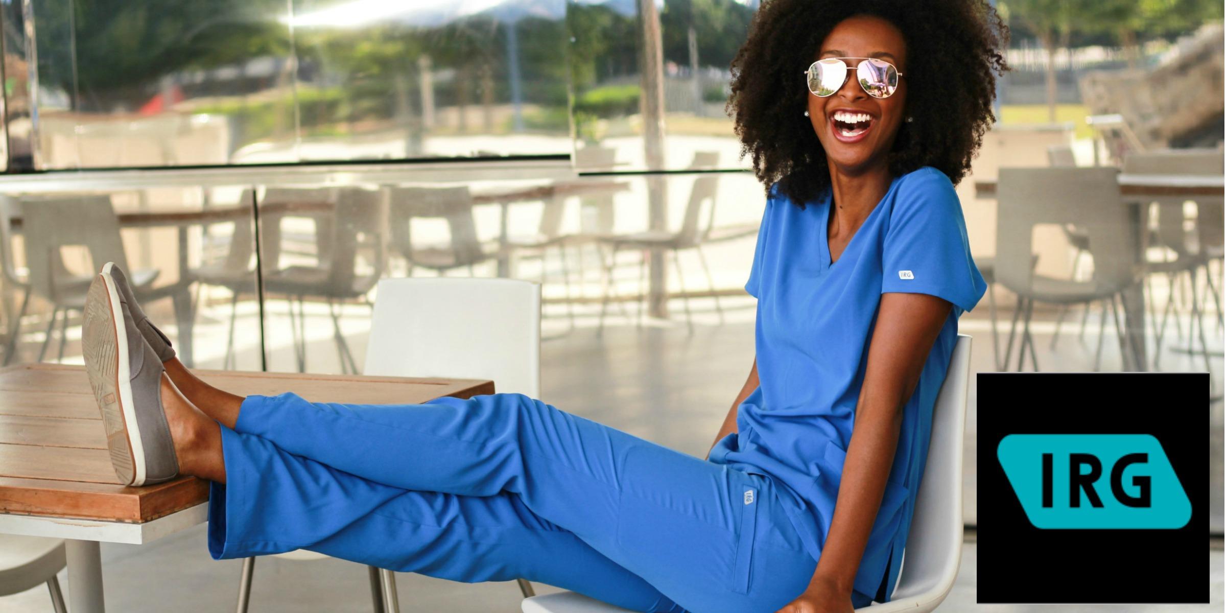 7cfa4dd9c1a58a Mock Neck Top in Estate Navy Blue Medical Scrubs Medical