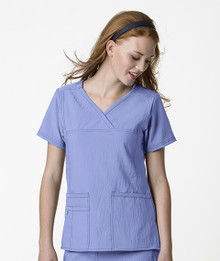 WonderWink Four-Stretch : Y Neck 6414 Multi Pocket Scrub Top For Women*