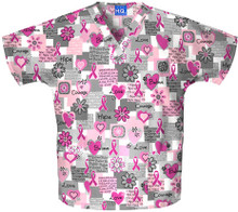Breast Cancer Words Of Love Scrub Top For Women - Words Of Love