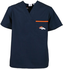 Denver Broncos V Neck Scrub Top