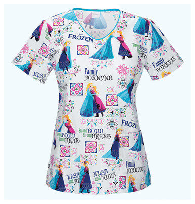 Frozen Print Scrub Top For Women With Anna And Elsa