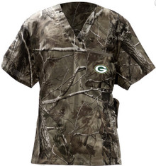 Green Bay Packers Real Tree V Neck Scrub Top