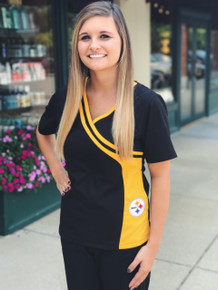 Pittsburgh Steelers  Women's Side Pocket NFL Scrub Top