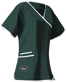 New York Jets Mock Wrap Scrub Top