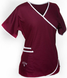 Texas A&M Women's Mock Wrap Scrub Top