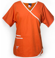 Texas Longhorns Women's Mock Wrap Scrub Top