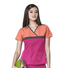 WonderWink Origins : Tri Charlie Mock Wrap Scrub Top For Women - OPP