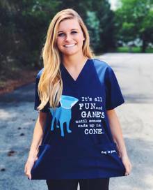 It's All Fun and Games Unisex Scrub Top in Navy