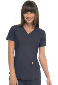 Code Happy Antimicrobial Protection + Fluid Barrier Mock Wrap Scrub Top*