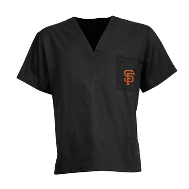San Francisco Giants MLB Black V Neck Scrub Top