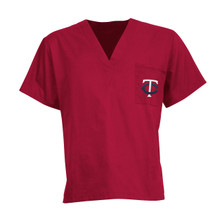 Minnesota Twins Red MLB V Neck Scrub Top