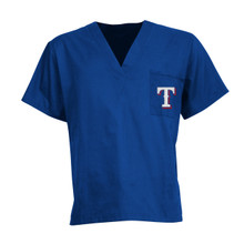 Texas Rangers MLB V Neck Scrub Top