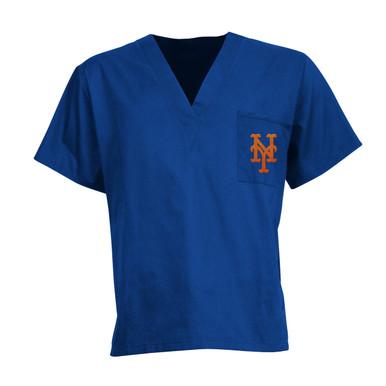New York Mets MLB V Neck Scrub Top