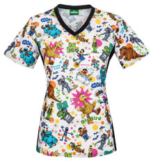 Sesame Street Scrub Top For Women