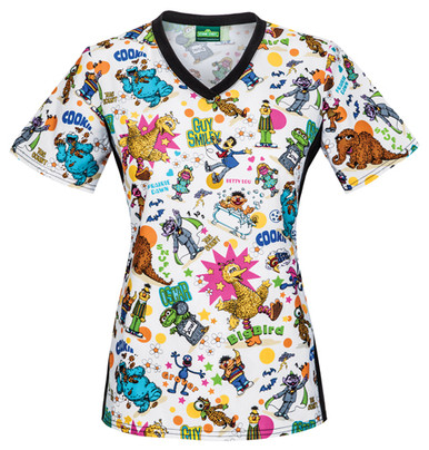 b661e0fa067 Sesame Street Scrub Top With The Entire Gang For Women