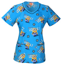 Blue Minions Scrub Top For Women