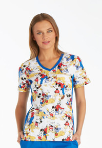 Mickey Mouse Club House Scrub Top For Women