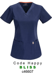 WOMENS : Antimicrobial Protection V Neck Scrub Top (Embroidered with CDx Logo)