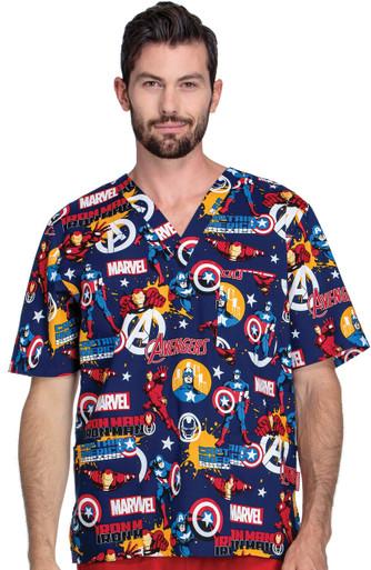 fe246778498 Home · Men's Scrubs; Marvel Comic Team Avengers - Iron Captain Scrub Top.  Image 1