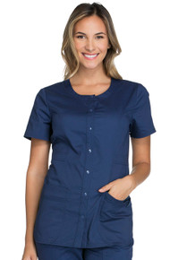 Cherokee Core Stretch W683 : Round Neck Premium Core Stretch Button up Scrub Top For Women*