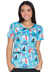 Little Mermaid Scrub Top For Women
