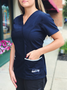 Seattle Seahawks Women's NFL Scrub Top with Front Patch Pockets