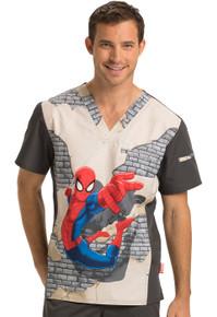 Spider-Man V Neck Scrub Top For Men