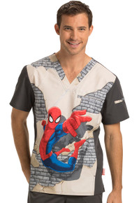 Spider-Man V Neck Scrub Top For Men