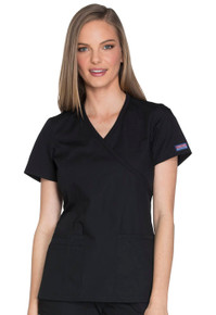 Cherokee Workwear Originals Women's Mock Wrap Knit Panel Solid Scrub Top*