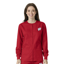 University of Wisconsin Red Warm Up Nursing Jacket(6 piece Wisconsin W minimum)*