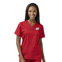 University of Wisconsin Badgers Women's V Neck Scrub Top(6 piece Wisconsin W minimum)*