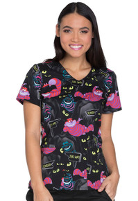 Alice in  Wonderland Cheshire Cat Scrub Top For Women
