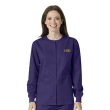 LSU Grape Warm Up Nursing Scrub Jacket
