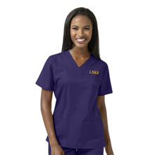 LSU Grape Women's V Neck Scrub Top