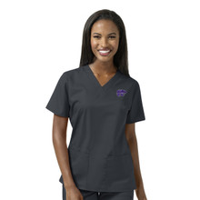 Kansas State Women's V Neck Pewter Scrub Top (6 Piece K-State Minimum)