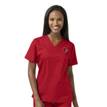 Louisville Cardinals Women's V Neck Scrub Top