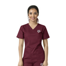Texas A&M Maroon Women's V Neck Scrub Top