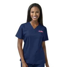 Ole Miss Women's V Neck Scrub Top