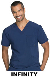 MEN : Athletic Antimicrobial Protection Multi Pocket V Neck Scrub Top (Embroidered with BSC Logo)