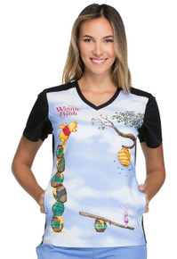 Disney Pooh Bear & Piglet Scrub Top For Women