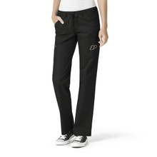 Purdue Boilermakers Black Women's Straight Leg Cargo Scrub Pants