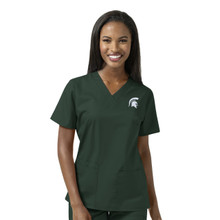 Michigan State Spartans Logo Women's V Neck Scrub Top*